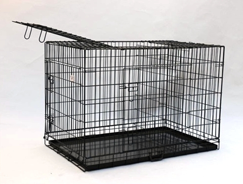 wire dog crate with metal pan