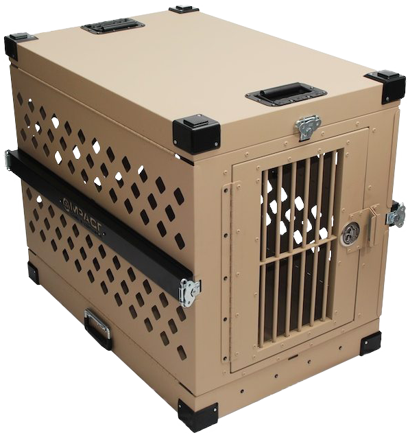 Collapsible heavy duty aluminum dog crate for management of separation anxiety in dogs